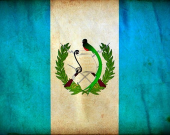 Vintage Guatemala Flag on Canvas, Guatemala Wall Art, Guatemala Photo flag on canvas, Single or Multiple Panels Guatemala flag, Central