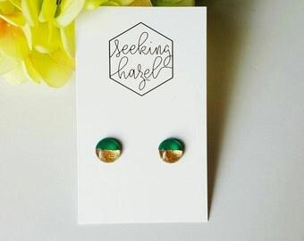 Studs, earrings, gold earrings, emerald , resin studs, polymer clay studs, green earrings