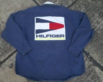 VTG Tommy Hilfiger USA Sailing Gear Colour Block Big Logo Spell Out DeadstocK Shirt Rare