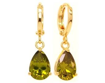 Green gem teardrop earrings, Yellow gold plated drop dangle, Clear green gemstones, Green pear earrings, Real 18CT gold green gems, Gift box