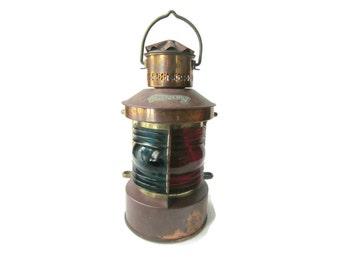 Vintage Ship Lantern, Nautical Lamp, Tweekleur Lamp, Vintage Lantern, Cooper Lantern Blue and Red Lens Nautical Ship Boat Lantern Ship Light