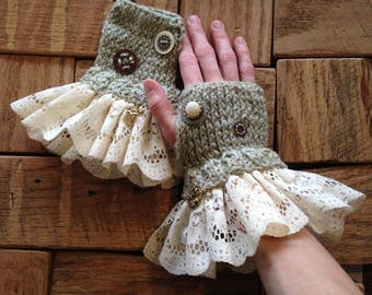 Fingerless Gloves, Steampunk Gloves, Victorian Fashion, Mint Green, Knit Gloves, Wearable Art *Free Shipping*