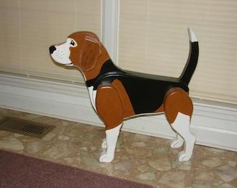 Wooden Beagle Statue, 3D Lifesize Beagle