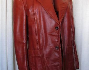 Vintage beautiful retro sienna brown  leather  jacket/joli jacket de cuir terre de sienne rétro     size tag 46