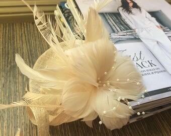 Petite Cream Flower and Faux Pearl Fascinator
