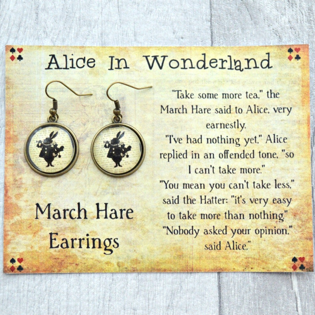 March Hare Quotes: Alice In Wonderland Earrings March Hare Book Page