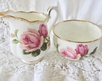 "Royal Albert Bone China Mini Creamer and Sugar Bowl ""Anniversary Rose"" Pattern"