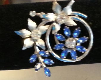 ORNATE BLUE & SILVER Brooche-Vintage