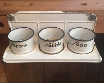 Italian white enamel washing cups
