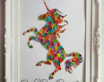 Bright Multicoloured Unicorn Framed Button Art Picture