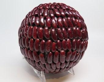"Sphere RED Natural Bean Ball Bowl Table Dried Arrangement Large 5"" Diameter #2 SALE"