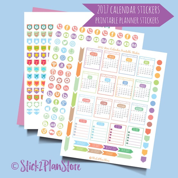 2017 Mini Calendar Printable Sticker Happy Planner Stickers Instant Digital Download