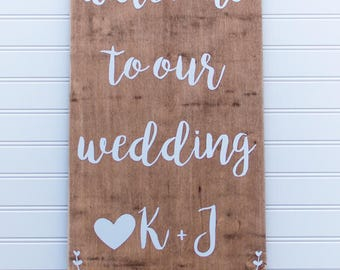 Welcome to Our Wedding K + J • Wedding Sign • Wedding Decor • 12x30