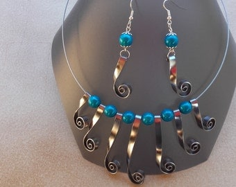 Set of blue turquoise and gray aluminum wire