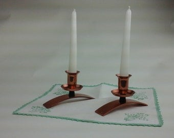Vintage, copper candle holders.