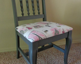 Paris themed side chair; vintage side chair, shabby chic chair, shabby chic furniture