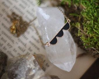 Black Scalloped Enamel Choker Necklace