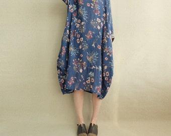 Women Vintage Floral Dress Tunic Dress Spring Dress Long Sleeve Dress Midi Dress Loose Dress Cotton Dress