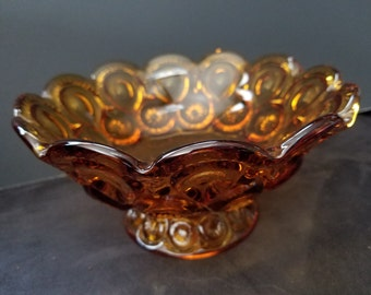 Vintage L.E. Smith Moon & Stars Amber Glass Footed Candy Dish