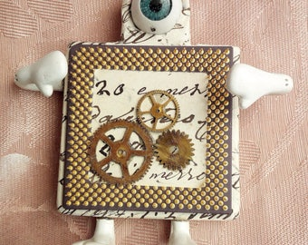 steampunk character art pendant