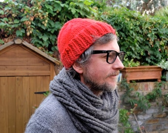 Hand Knitted Beanie - Bright Red