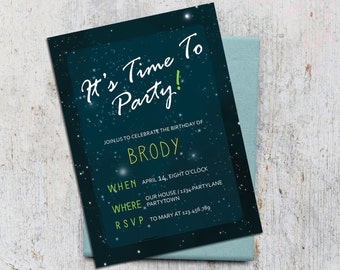 Boys Digital Invitation Birthday Time To Party with Thank you card Printable Blue birthday kids invitation card Starry Sky Night invitation
