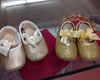 Gold glitter baby shoes