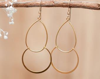 Gold Plated Earwire * Earrings * Geometric * Round * Handmade * Dangle * Lightweight *Gift for Her *Jewelry *Bycila *Thin * Tear Drop BJE114