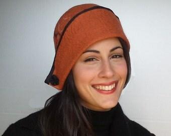 Wool felt hat, hat, hat, hat woman's 20 years, cloche, felt hat, Grace
