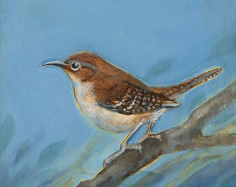 House Wren, Original Oil Painting, Bird Art, Wren painting, Original Bird Art, Bird Decor