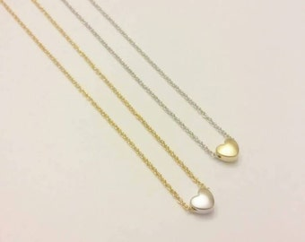 """Matte Silver Heart on Gold 17.5"""" Necklace"""