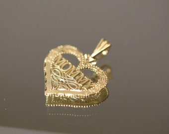 14k Diamond Cut Mommy Heart with Cut out Design Pendant / Charm in Yellow Gold