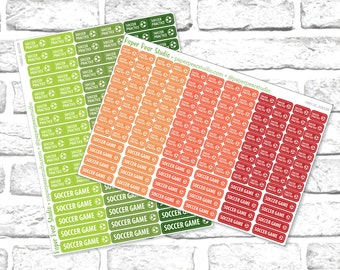 Soccer Practice & Game Sticker Set for Passion Planner