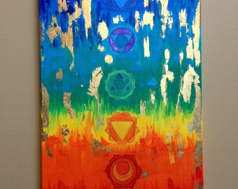 "Chakra Art Chakra acrylic painting Yoga painting Meditation Art  Spiritual Art Healing painting 12""x24"" Free shipping to USA and Canada"