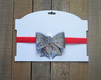 Sequin Silver Bow with Red Elastic Headband