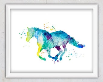 Horse Print, Nursery Art print, Animal Poster ,Watercolor Wall Print nursery, Download Printable Art, Kids Room Decor, Nursery Animal Print