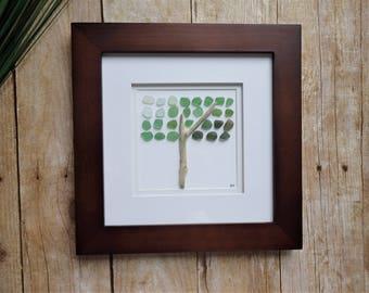 Sea glass tree art picture / Tree of life wall art / Retirement gift /  Nature art / Beach glass tree art / Nature lover gift / Tree lovers