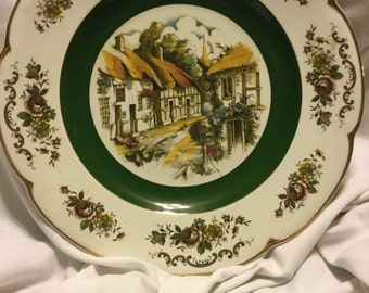 Vintage English Ironstone Plate--Village Scene--1960s
