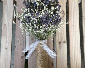 Bridal Bouquet Dried English Lavender and Gypsophila Baby's Breath Rustic Wedding Bride Bridesmaids Flowergirl
