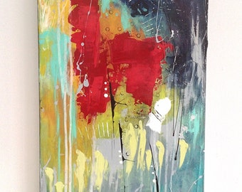 "Vertical abstract painting red abstract painting, abstract canvas, original artwork, wall art, ikouart, Canvas, 15 ""x 30"" x 1, 5 "", acrylic"