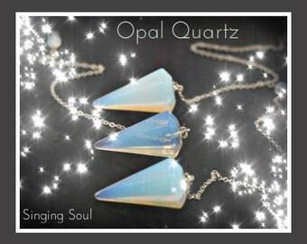 Opal quartz pendulum, pendulum, Reiki jewelry, healing crystal, Dowsing, scrying, meditation, yoga, opal, quartz pendulum, healing stone