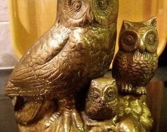 Brass owl family, vintage