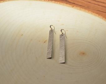 Metallic Taupe Drop Earrings