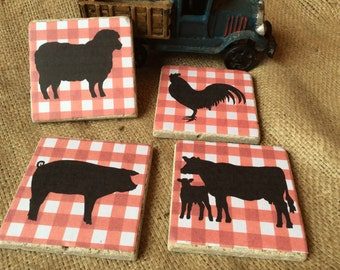 Country Farm Animal Drink Coasters//Farmhouse Decor//Rustic Country Kitchen//Red and white checked//Pig Sheep Rooster Cows// Farm and Ranch