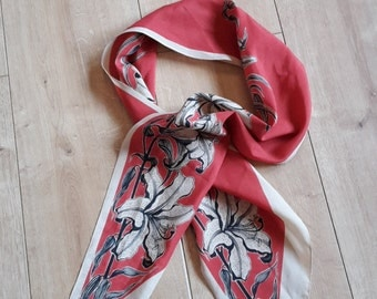 Vintage Jacqmar of London Scarf Orange and Cream with Orchids or Lillies.
