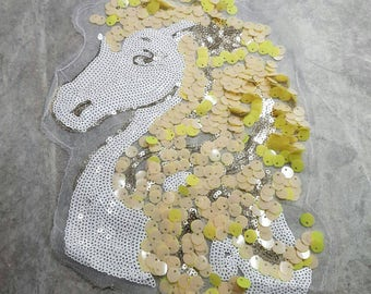Horse Unicorn Yellow Sequin Sew on applique patches