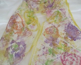 Coupon,Hand painted silk scarf,59x16inches(150x40cm)Womens girls scarf,Wearable silk art,Flowers,Christmas gift,Batik,ArtTeamShop
