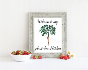 Welcome to My Plant-Based Kitchen 8x10 Vegan Printable Art Instant Download