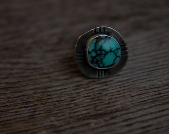Turquoise Peace Ring// Size 7