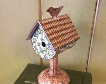 Hand Painted Enamel on Copper Metal Bird House Trinket Box - with case and leaflet,Trade plus Aid